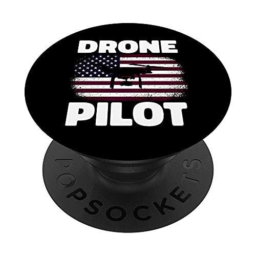 Drone Life Pilota Quadcopter America Bandiera PopSockets PopGrip Intercambiabile