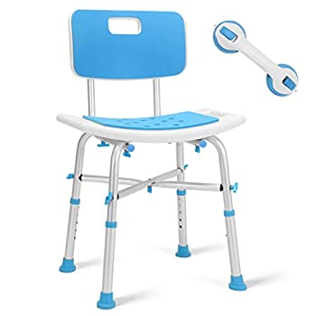 Health Line Massage Products Heavy Duty Shower Chair with Large Back 500lb Bariatric Paded Bath Seat w/Assist Grab Bar Tool-Free Assembly Tub Shower Bench for Seniors Elderly Disabled & Handicap