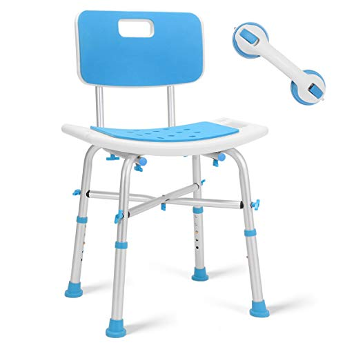 Health Line Massage Products Upgraded Shower Chair, Bariatric Heavy Duty Bath Chair 500 lbs Cap. Transfer Bench w/EVA Paded Seat and Assist Grab Bar (White/Blue)