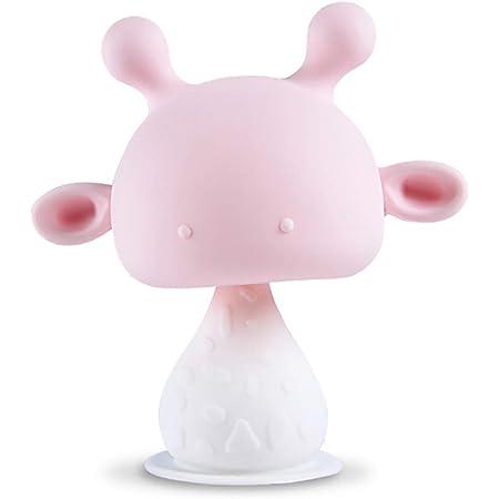 orzbow ベビー用歯がため 食品級シリコン 鈴付き BPAフリー 歯ぐきに刺激を与え 可愛い鹿 (ピンク)