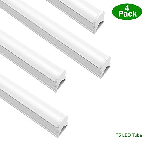 LightingWill LED T5 Integrated Fixture 4FT, Warm White 3500K, 14W, Linkable LED Shop Light, LED Ceiling Light and Under Cabinet Light, Corded Electric with Built-in ON/Off Switch, 4 Pack