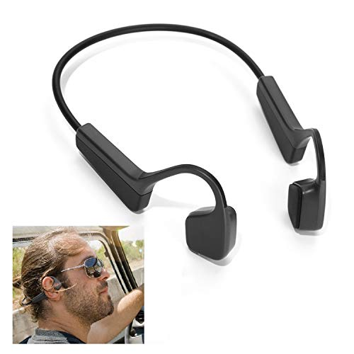 Bone Conduction Headphones Bluetooth 5.0 Wireless CVC Noise Reduction Open-Ear Earbuds HiFi Stereo with Mic Waterproof Sports Earphones for Running Sports Fitness Driving Cycling (Black)