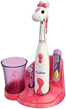 Brusheez® Kid's Electric Toothbrush Set - Soft Bristles, Easy-Press Power Button, Battery Operated, 2 Brush Heads, Animal Cover, Sand Timer, Rinse Cup and Storage Base - Ages 3+ (Sparkle The Unicorn)
