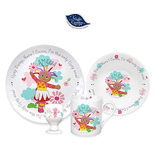 Completamente personalizado Upsy Daisy 4 piezas de desayuno/comida Set - Decoración personalizada de hueso fino China