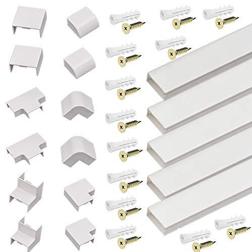 5PCS Kabelkanal Set, PVC Kabelabdeckung, Kabelschacht zum verstecken von Kabel, Kabel-Management-System für alle Netzkabel in Haushalt/Büro, 5 Stück x L5M*W30*H15MM