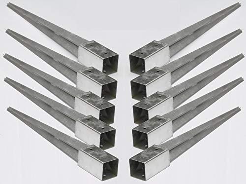 10 Stück 70 mm Pfostenträger Einschlaghülse Bodenhülse für Holzpfosten Holzzaun 750mm lang