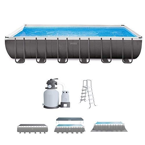 Intex 24ft X 12ft X 52in Ultra Frame Rectangular Pool Set with Sand Filter Pump, Ladder, Ground Cloth & Pool Cover