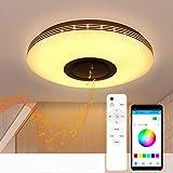 Lámpara de techo LED con altavoz Bluetooth de 36 W, 15 pulgadas, aplicación para teléfono móvil, moderna lámpara de techo regulable para empotrar, cambio de color RGB con mando a distancia para salón