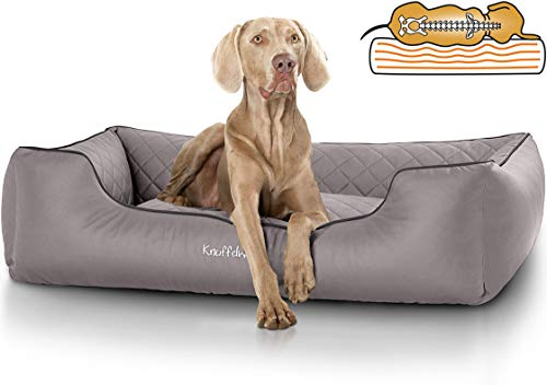Knuffelwuff orthopädisches Hundebett Madison aus Kunstleder Hundekorb Hundesofa Hundekissen Hundekörbchen waschbar Grau M-L 85 x 63cm