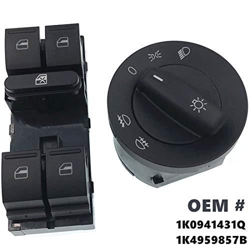HZTWFC Koplamp Raambedieningsschakelaar Knop 1K0941431Q 1K4959857B Compatibel voor VW Jetta MK5 Golf 5 6 Tiguan Passat B6 CC Caddy Touran