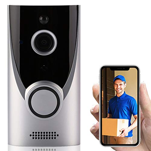 Video doorbell Camera with Ringtone, Powerful Smart WiFi Security doorbell IP65 Waterproof 720P HD, with Real-time Video, Two-Way Conversation and PIR Motion Detection 160° Wide Angle (Silver)