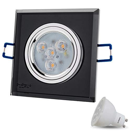 LED inbouwspot van glas/spiegel/zwart dimbaar kristal hoekig incl. X 6 W LED warmwit 230 V IP20 LED plafondspot inbouwlamp plafondinbouwspot plafondinbouwlamp plafondspot