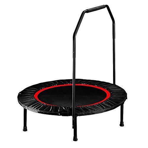 JGWHW 40-Zoll-Fitness-Trampolin mit Sicherheitsunterlage, Indoor-Trampolin-Rebounder mit Griff, Klapp-Fitness-Trampolin für Erwachsene Kinder (Farbe : Rot)