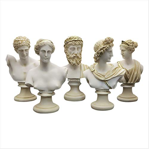 Set 5 Busto Cabeza Dios Zeus Artemis Afrodita Hermes Apolo Estatua romana griega