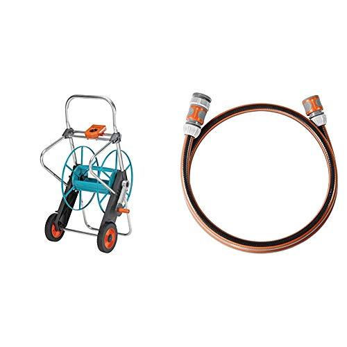 Gardena Metall Schlauchwagen 100: Stabile, beschichtete Schlauchtrommel & Anschlussgarnitur Comfort FLEX 13 mm (1/2 Zoll), 1.5 m: Schlauchadapter zum Anschluss des Schlauchwagens, 25 bar Berstdruck