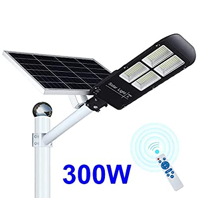 300w Solar Street Light Dusk to Dawn, Outdoor Flood Lights with Remote Control, 486 LEDs 12000 Lumens Super Bright, Waterproof Security LED Pole Light for Yard, Garden, Pathway (Mounting Arm Included)