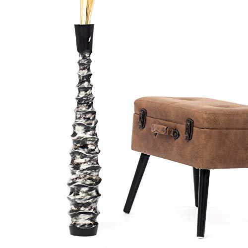 Leewadee Jarrón de Suelo Grande Alto, jarrón Hecho a Mano de Madera de Mango, contenedor de pie para Las Ramas Decorativas, 75 cm, Negro