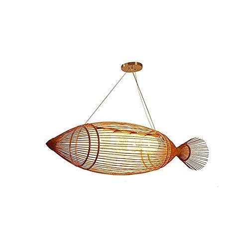 MADBLR7 Chandelier de bambú Retro japonés Chandelier de Techo de bambú de Estilo Chino, Colgante, luz, Luces Colgantes de ratán, para la Sala de Estar de la casa de té, E27