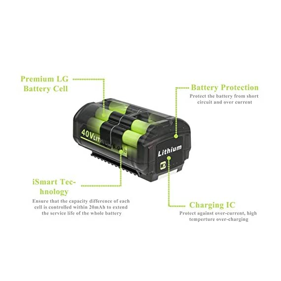 CELL9102 Replacement 6.0Ah 40V Lithium ion Battery for Ryobi Lawn Mower 40v Battery OP4015 OP4050A OP4040 OP4050 OP40201 7 The Cell9102 Advantage : Professional power tool battery manufacturing factory, with dozens of research and development team.And carefully prepared a drill brush for you, so that you can use the battery more efficiently to bring convenience to your life. Ultra-High Capacity : This item compative with ryobi 40v lithium battery weighs just 2.9 pounds but has a capacity of 6,000 mAh and use high-quality lithium-ion cells. Certified Safe : Cell9102's MultiProtect safety system ensures complete protection for you and your devices.And this Battery for ryobi 40v lithium battery is perfectly compatible with OP4050A OP4015 OP4026 OP40201 OP40261 OP4030 OP40301 OP4040 OP40401 OP4050 OP40501 OP40601.