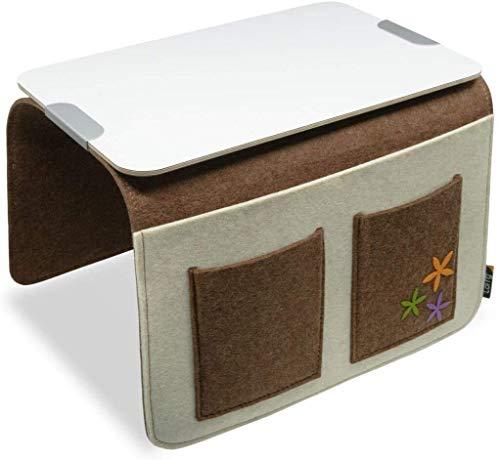 Sport & Spiele Sofa Butler Carry mit 4 Taschen und Ablageplatte Braun-Weiss Sofaauflage Sofa Armlehe Sofatablett Couch Ablage