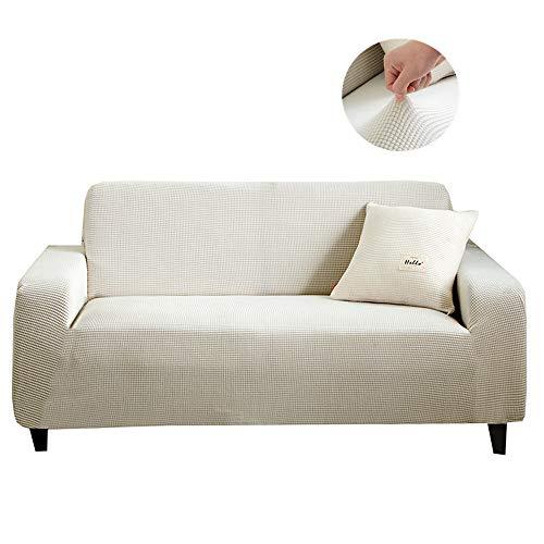 Sticker Superb Color Sólido Jacquard Stretch Couch Cover Sofá Fundas para Sofás Poliéster Spandex Fundas Protector con Fondo Elástico y Antideslizante (Blanco,235-300 cm)