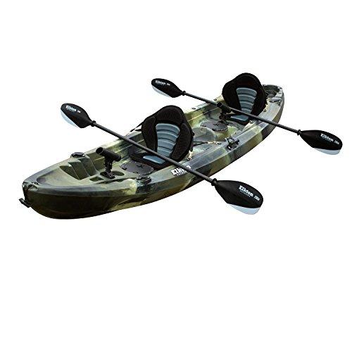 Elkton Outdoors Tandem Fishing Kayak - 12.2 ft Sit On Top Fishing Kayak with EVA Padded Seats, Aluminum Paddles, Rod Holders, and Dry Storage Compartments (Orange)