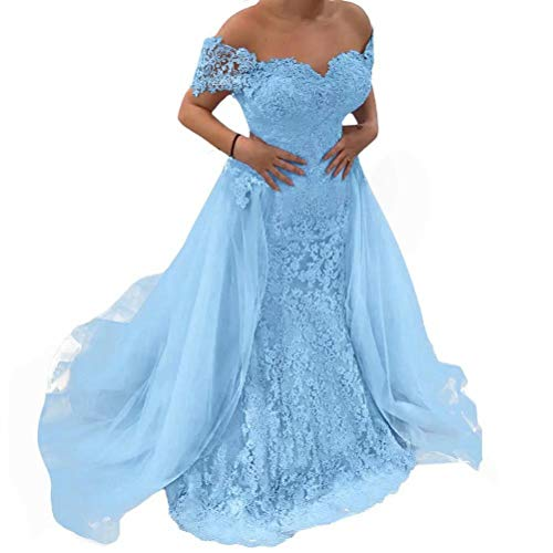 Women's Off Shoulder Prom Dresses Mermaid Lace Applique Long Evening Party Gowns with Detachable Train Light Blue US14