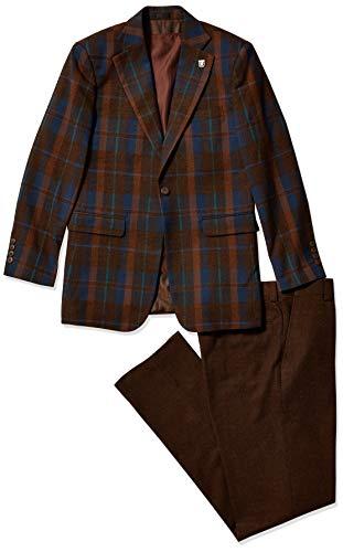 MY'S Men's 3 Piece Slim Fit Suit, One Button Jacket Blazer Vest Pants Set and Tie, Dark Grey, XXL?5'9-6'3?200-210lbs