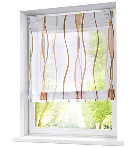 BAILEY JO Voile Raffrollo mit Wellen Druck Design Rollos Schlaufen Transparent Vorhang (BxH 120x140cm, Sand mit U-Haken)