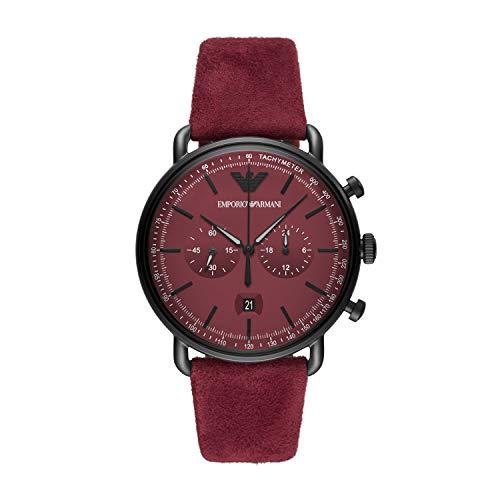 Emporio Armani Herren Chronograph Quarz Uhr mit Leder Armband AR11265