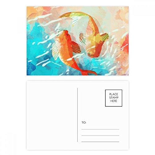 DIYthinker Roter Koi Fische Aquarell Japan-Art-Postkarten-Set Geburtstag dankt Karte Mailing Side 20pcs 5.7 Zoll x 3.8 Zoll Mehrfarbig