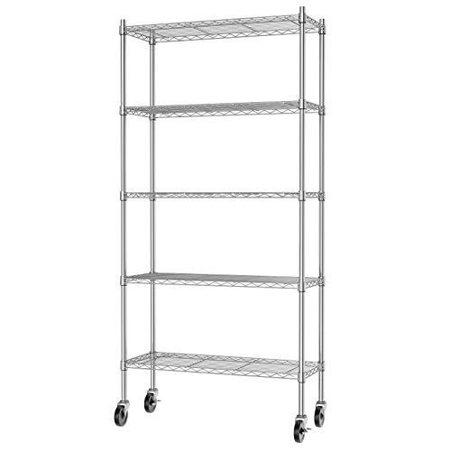 Auslar 5-Shelf Storage Shelves with Casters Heavy Duty 5 Tiers Rolling Cart Utility Racks Adjustable Wire Metal Shelving, Chrome