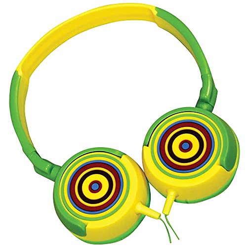 Volkano Wired Kids Headphones with Hearing Protection, Padded Lightweight Kiddy Headset, 85 dB Safe for Children, Girls/Boys, E-Learning, Travel, PC, Cellphones [Yellow/Green] Rainbow Kiddies Series