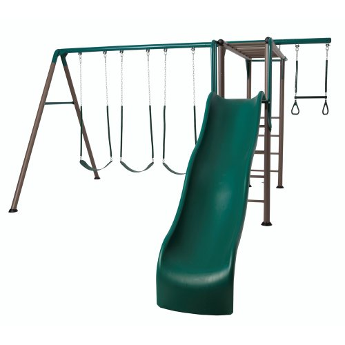Lifetime 90143 Monkey Bar Adventure Swing Set with 9 Feet Wavy Slide, Earthtone