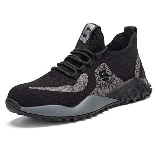 ZOSYNS - Zapatos de Protección Unisex Para Hombre Transpirables Deportivos Ligeros y Cómodos con Puntera de Acero Suela de Acero Antiperforaciones Transpirables Talla 37-48 Negro Talla 46 EU