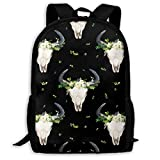 Homebe Sac à Dos,Cartable,Sac d'école Classic Backpack 4 Green and White Boho Skull Version 2 Black_8478 Travel Laptop Backpack, Extra Large College School Student Backpack for Men and Women