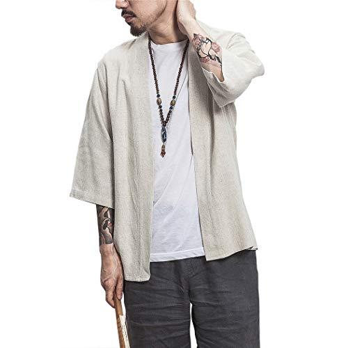 MISSMAOM_Fashion2019 Herren Happi Kimono Haori Jacke Übergangsjacke Mäntel Hanfu Langarmshirts Cardigan,Grau,XL