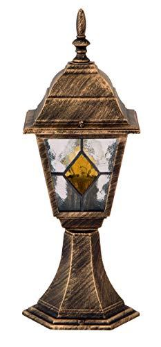 Monaco padverlichting verlichtingsladen klassiek metaal/glas antiek goud buitenlamp staande lamp pollenlamp E27 60W