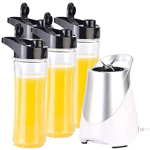 Rosenstein & Söhne Smoothie Maker: 2in1-Standmixer inklusive 4 Smoothie-Mix-Trinkbecher, 300 W, 600 ml (Zerkleinerer)