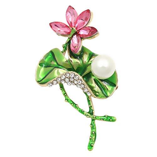 Lanhan Lotus Brooch drip Oil Pearl Corsage Dress School Bag Backpack Ladies Special Sale School Bag Gift 3.5cm*5.7cm Pink
