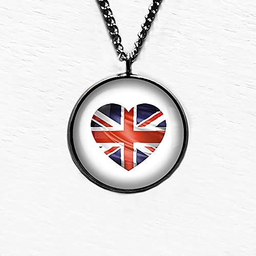 UK United Kingdom Flag Heart Ciondolo e Collana