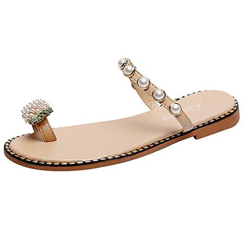Damen Zehentrenner Mädchen Flip Flops Ananas Perlen Flache Pantoletten Bohemian Bade Sandalen Freizeit Pantoffel Strand Schuhe, Beige, 39 EU