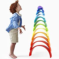 Lewo 12 Pezzi Impilatore Arcobaleno in Legno Gigante Puzzle di Annidamento Gioco di Impilamento Giocattoli Montessori in Legno Arch Building Blocks Giocattolo Educativo per Bambini Piccoli Maschietti #3