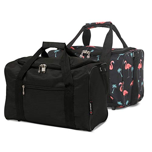 5 Cities 40x20x25 New and Improved 2020 Ryanair Maximum Sized Under Seat Cabin Holdall Travel Flight Bag – Take The Max on Board!(Black + Black Flamingos)
