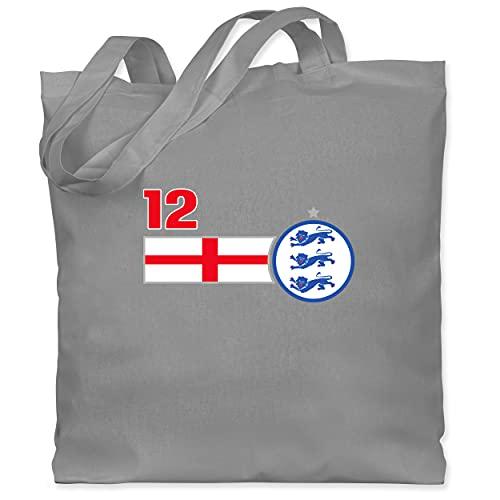 Shirtracer Fussball EM 2021 Fanartikel - 12. Mann England Mannschaft - Unisize - Hellgrau - Fun - WM101 - Stoffbeutel aus Baumwolle Jutebeutel lange Henkel