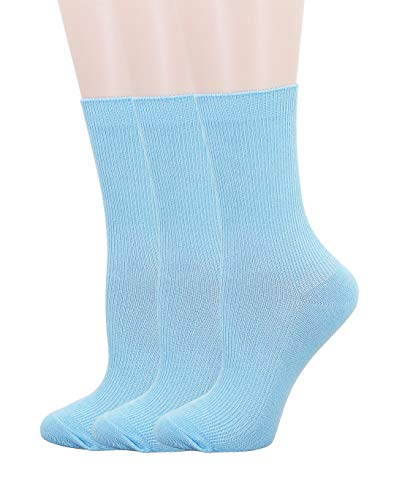 SRYL Womens Cotton Socks High Ankle (3 Pairs-Light blue(Narrow stripes))