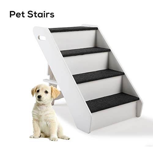COZIWOW Foldable Pet Dog 4-Step Stairs Ramp Ladder for Cats and Dogs Indoor Outdoor,Best for Small to Medium Pets, White