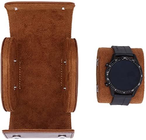 Duyifan Caja del Reloj - 1 Ranuras Organizador de Almacenamiento de Reloj PU Soporte, Estuche de Viaje con Rollo de Reloj, para Almacenamiento y exhibición en el hogar (Brown)