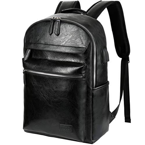 Vbiger Rucksack Herren Laptop Rucksack 15,6 Zoll mit USB Elegant Wasserdicht für Arbeit Schule Business Männer Schwarz