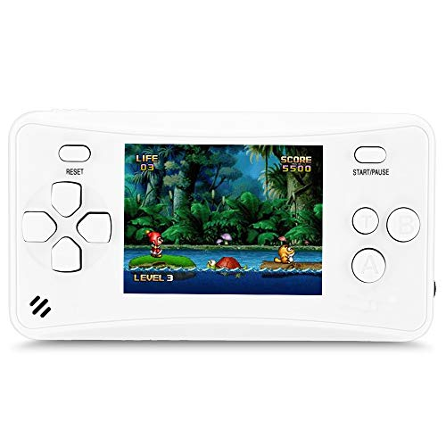 HigoKids Handheld Game Console for Children 8-Bit Retro Video Game Player with 2.5 inches LCD Screen The 80's 90's Arcade Video Gaming System Built-in 152 Classic Old School Games Entertainment-White
